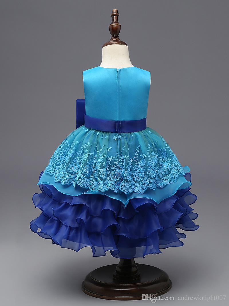 Новый Элегантный Принцесса Девушка Dress 2017 Мода Детские Весна Дети Бантом Рукавов Пачка Вышивка Dress Дети Платья Партии Для Девочек