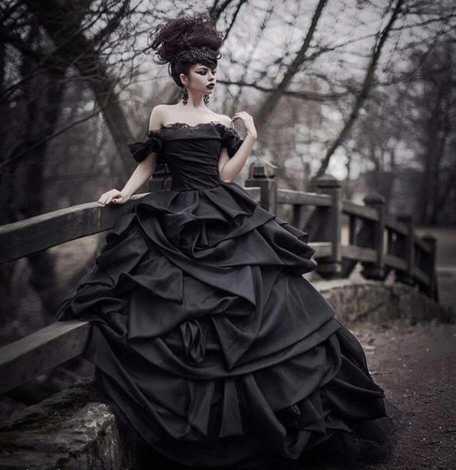 Black And White Gothic Wedding Dress Plus Size Satin: Black Ball Gown Gothic Vintage Satin Wedding Dresses Off