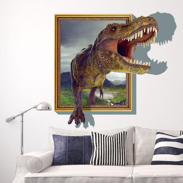 3d Através de dinossauro Adesivos de Parede Decalques para quartos de crianças Arte para o Quarto Do Berçário Do Bebê Decoração de Casa Papel De Parede Crianças Dos Desenhos Animados Poster