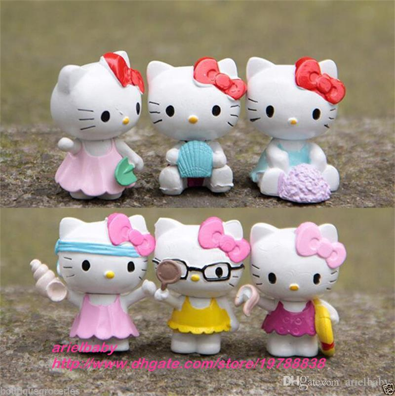 OHMETOY Hello Kitty KT Action Figure Toy Mini Model Kids Girl Birthday Gift Cake Toppers Baby Dolls Brinquedos