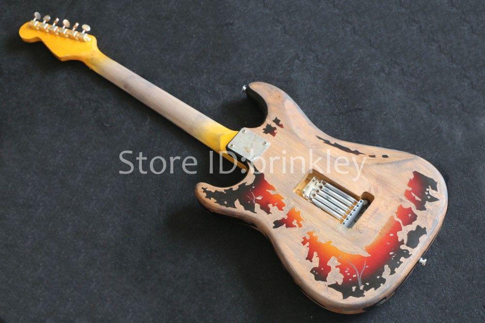 Завод магазин редких гитара Custom Shop Masterbuilt Limited Edition Стиви Рэй Воган дань SRV номер один электрогитара старинные коричневый