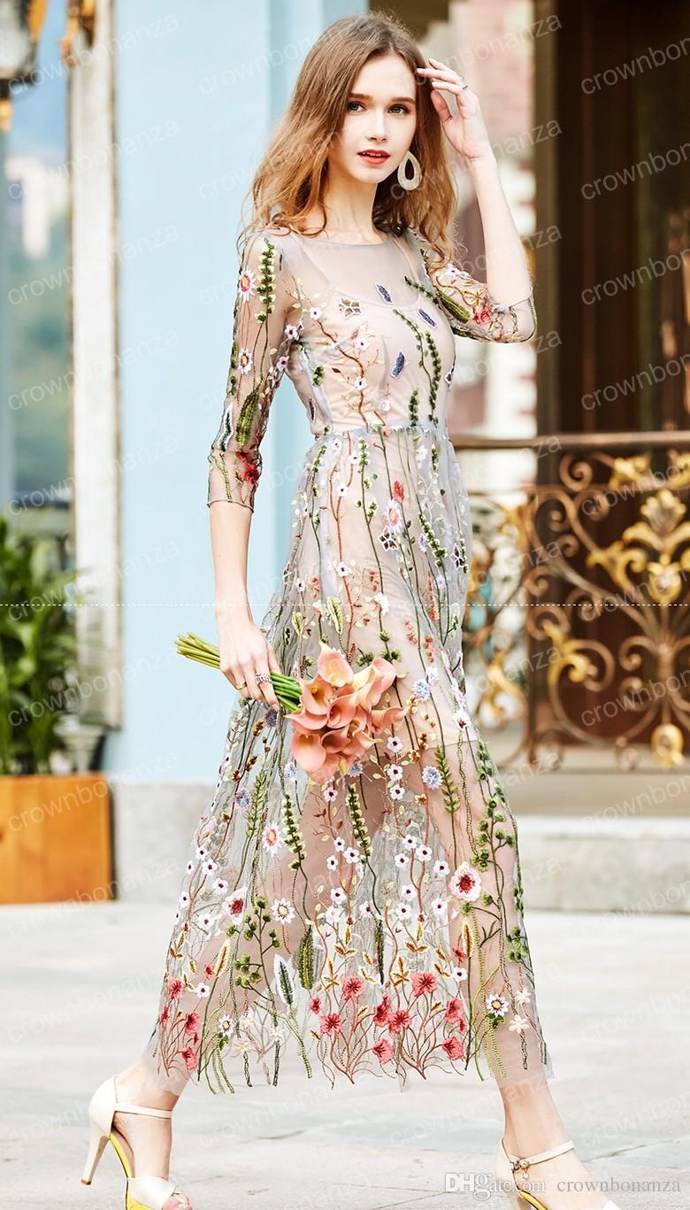 Runway Dress Embroidery 2017 Gorgeous Half Sleeves Sheer