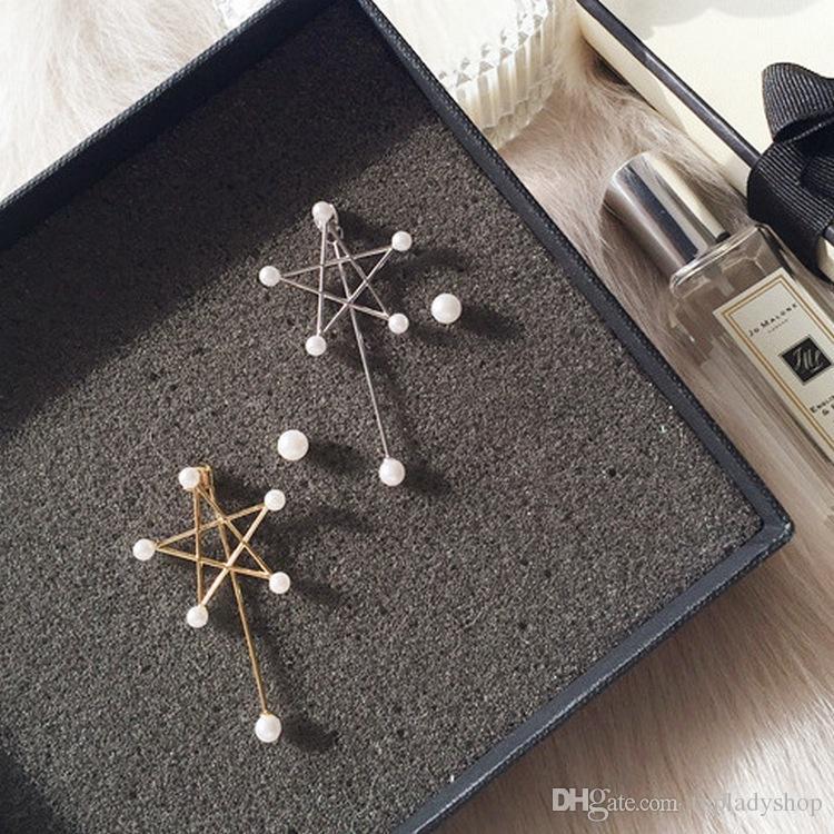 Temperamento estrella de cinco puntas pendientes asimétricos de perlas largas pendientes femeninos al por mayor envío gratuito