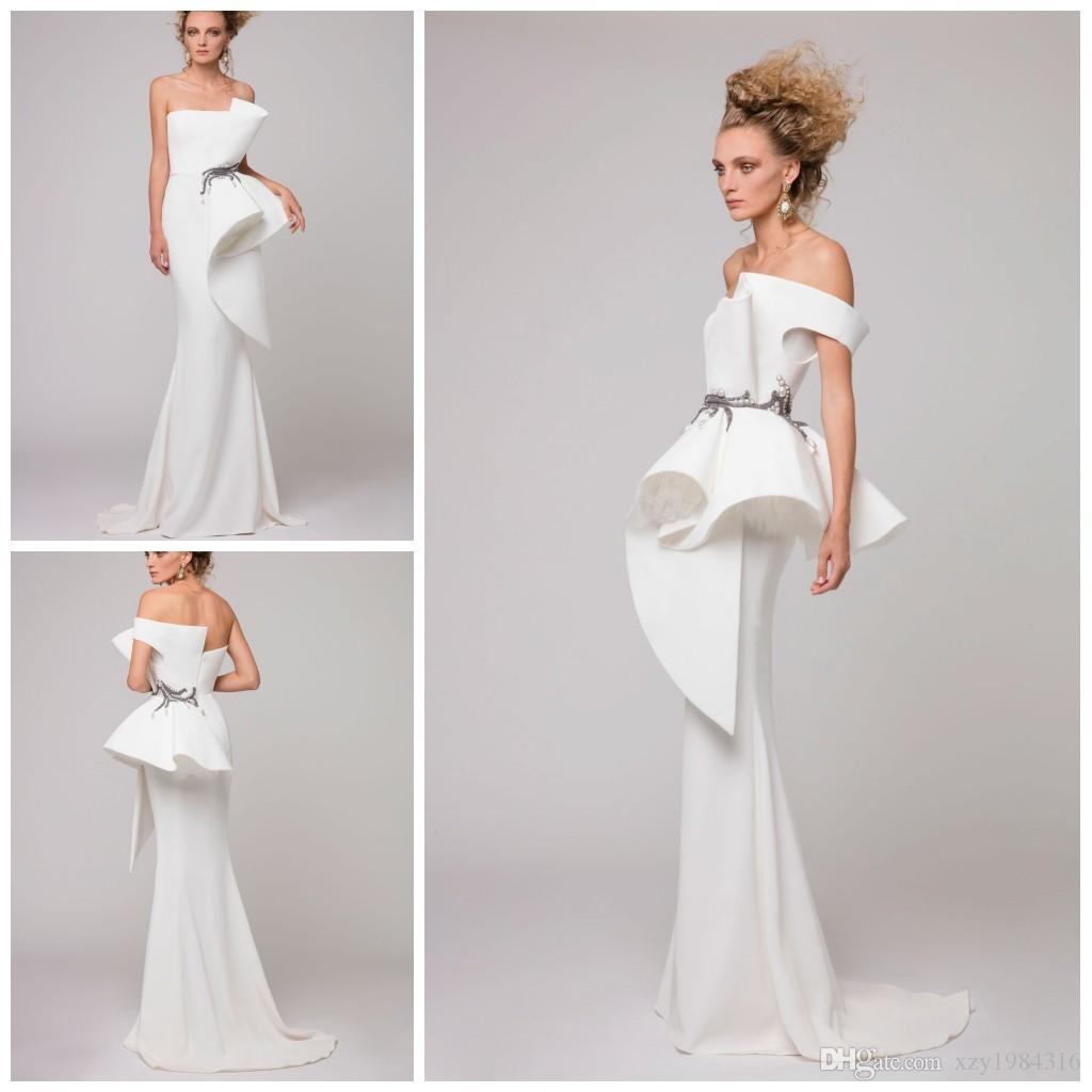 Azzi&Osta White Mermaid Evening Dress One Shoulder Embroidery Pearls ...