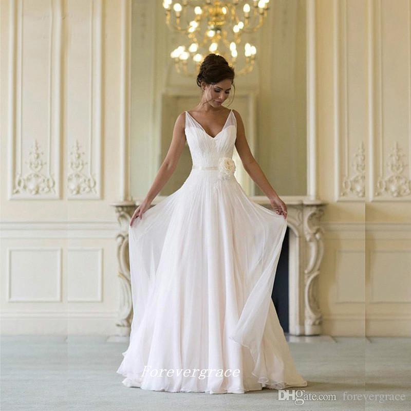Gothique V Cou Robe De Mariée D'été Simple Boho Dos Nu Femmes Robe De Mariée Plus La Taille Robe De Noiva Longo