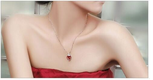 Heart Clavicle Chain Necklace 925 Sterling Silver Pendants Jewelry Red Garnet Sterling Silver Necklace Sincere Heart Red Gem Stone Necklace