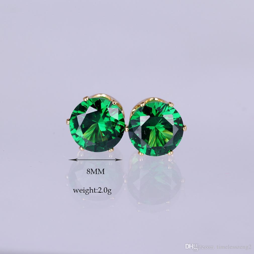 뜨거운 스타일 다채로운 라운드 8mm 지르콘 귀 스터드 7 색상 슈퍼 반짝이 도금 골드 도금 알레르기 무료 귀걸이 절묘한 아름다운 보석