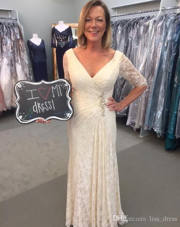 La mère de la mariée robes Deep V Neck manches courtes Custom Made Plus Size mère Groom robe robe de soirée