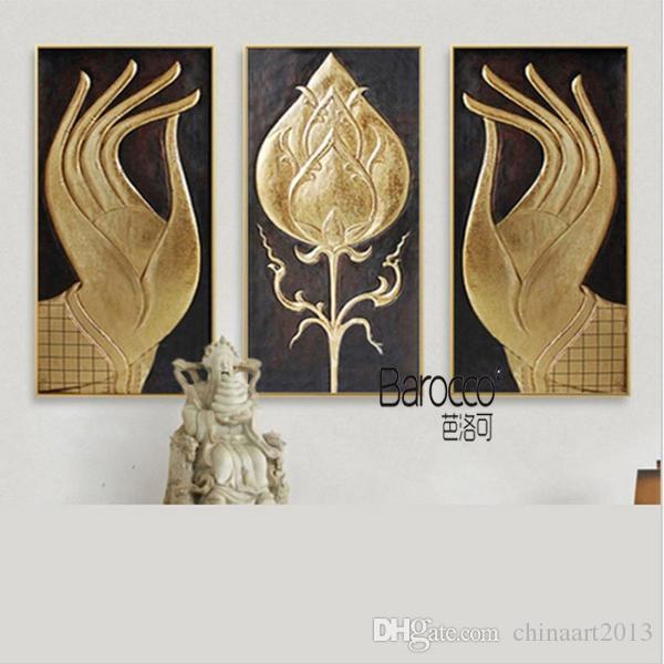 100% Peint À La Main Rétro Bouddha Mains Peinture à L'huile Sur Toile 3 Pièces Moderne Décoration de La Maison Mur Art Peintures Non Encadrée