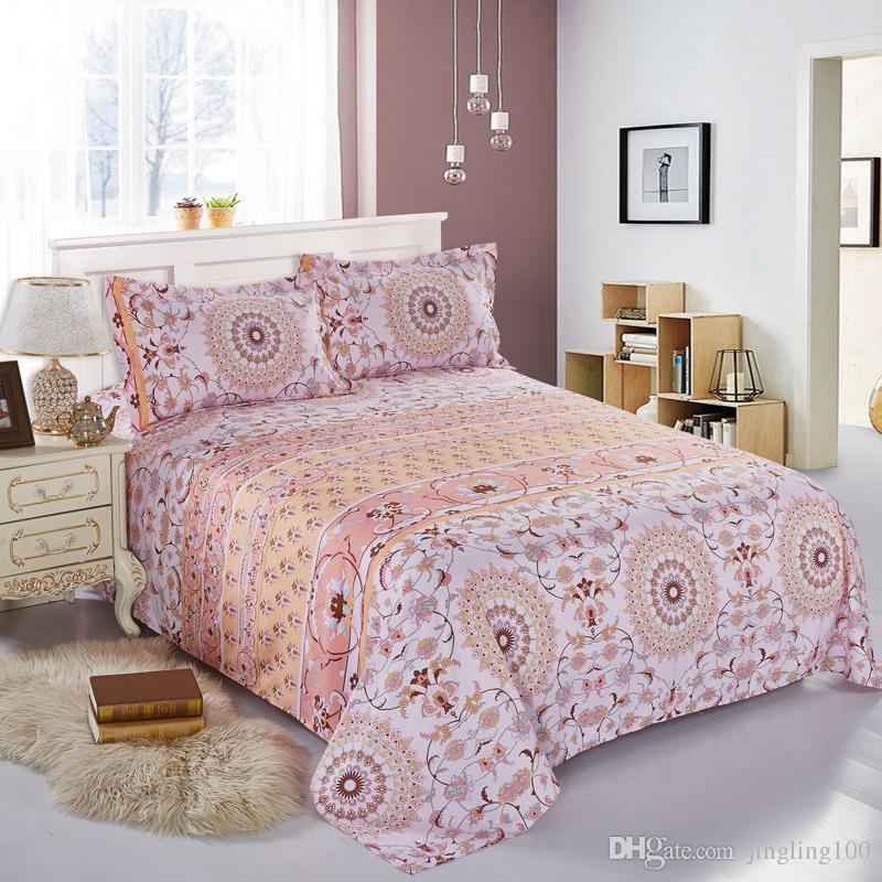 4 Stück / Set Böhmen moderne Betten Luxus Quilt Set Blume 3D-Druck Böhmen Bettwäsche aus 100% Baumwolle Bettwäsche Bettwäsche