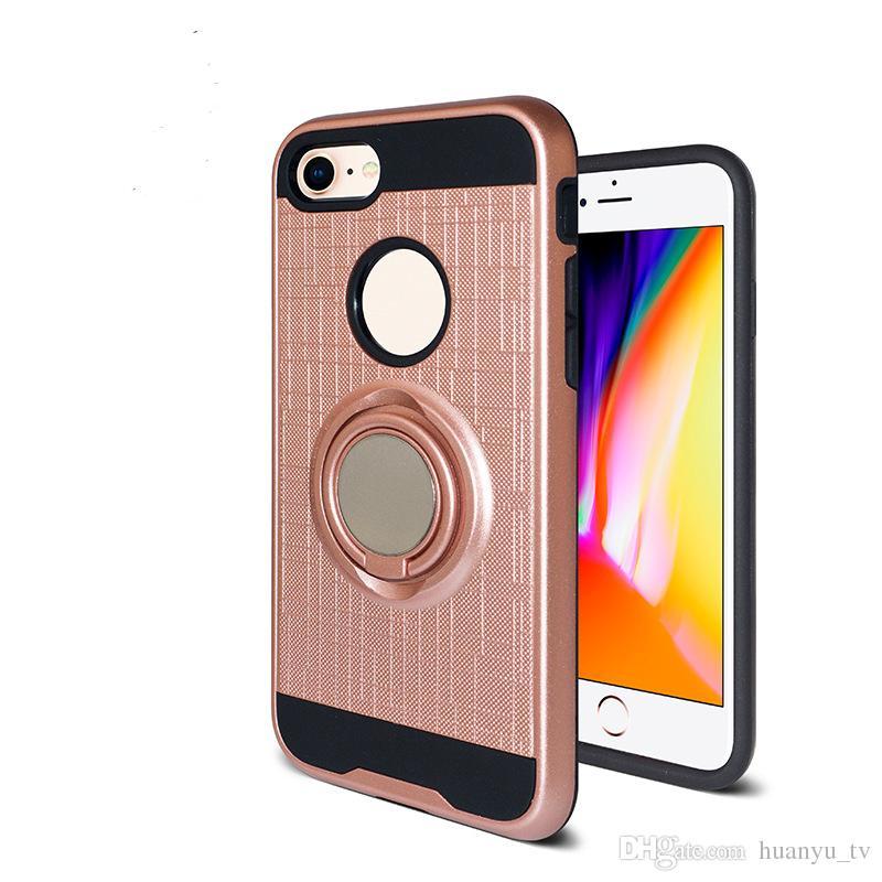 Pour iPhone X 8 Plus 7 6 S PC TPU Hybride Defender En Métal Brossé Cas de Téléphone portable Avec Bague Kickstand Couverture Bas Prix