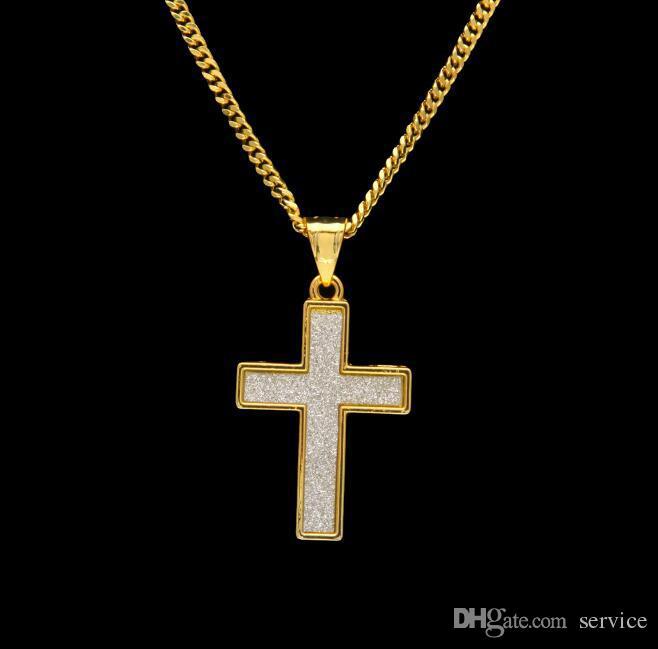 18 K oro Cruz colgante, collar de plata platino plateado joyería moda mujer regalo perfecto para el amor 2017 Chirstmas gife