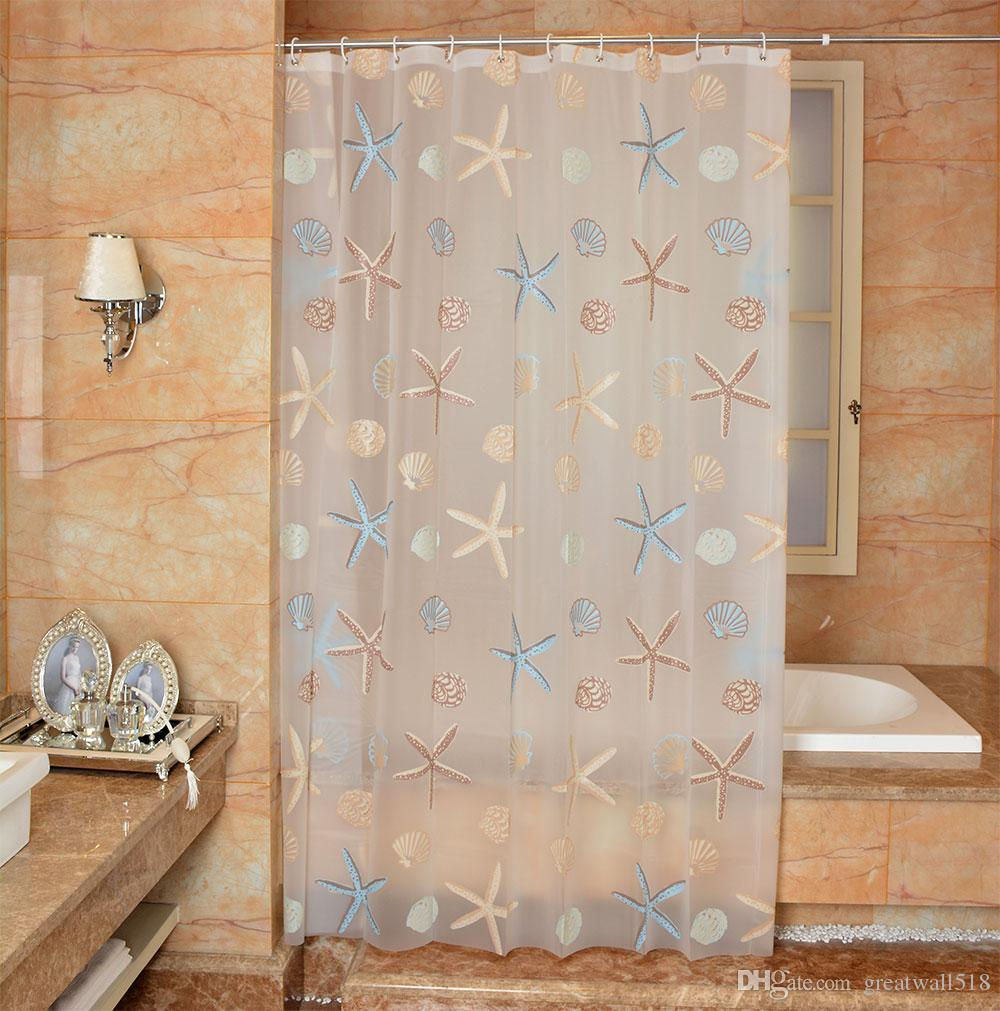 Waterproof Shower Curtain PEVA Mildew Bathroom Curtains Cute Starfish Pattern With Hooks Free Print Wholesale LJ022 Online