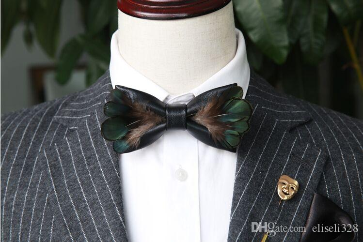 couleur attrayante Site officiel les clients d'abord 2018 männer frauen mode original-designer pfauenfeder schwarz fliege  hochzeit krawatten bowtie vlinderdas pajaritas de madera noeud papillon 31