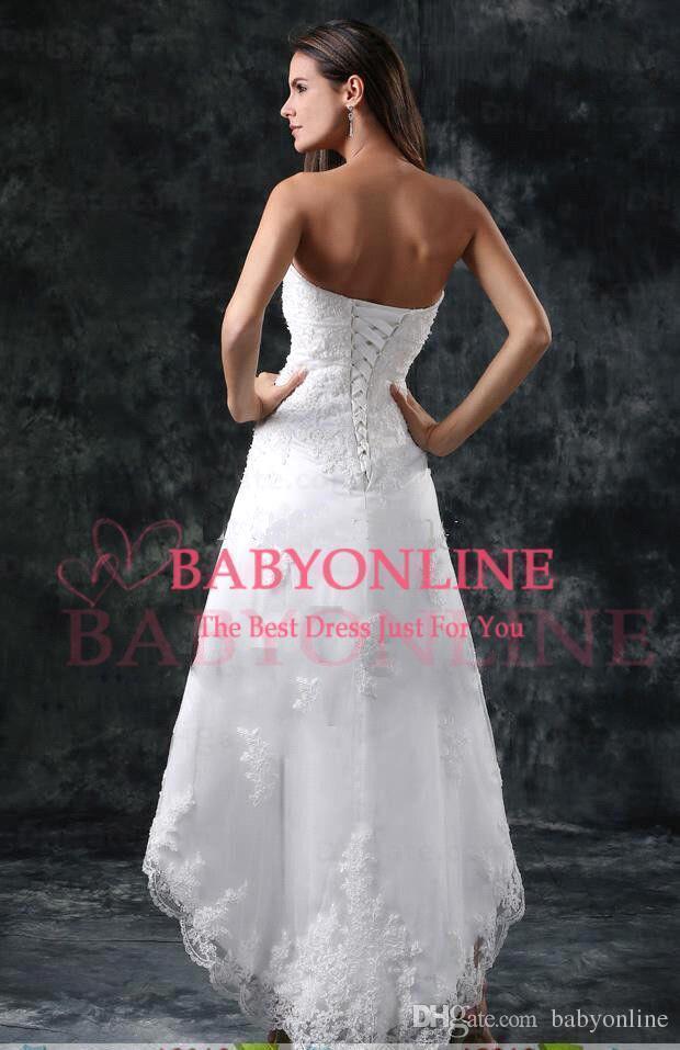 2020 Sommarstrand Hi-Lo Full Lace En Linje Bröllopsklänningar Strapless Appliques Kort Formell Lace-Up Back Vestidos Bridal Gowns CPS110