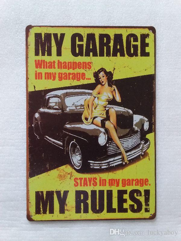 My Garage My Rules Vintage Rustic Home Decor Bar Pub Hotel Restaurant Coffee Shop home Decorative Metal Retro Tin Sign