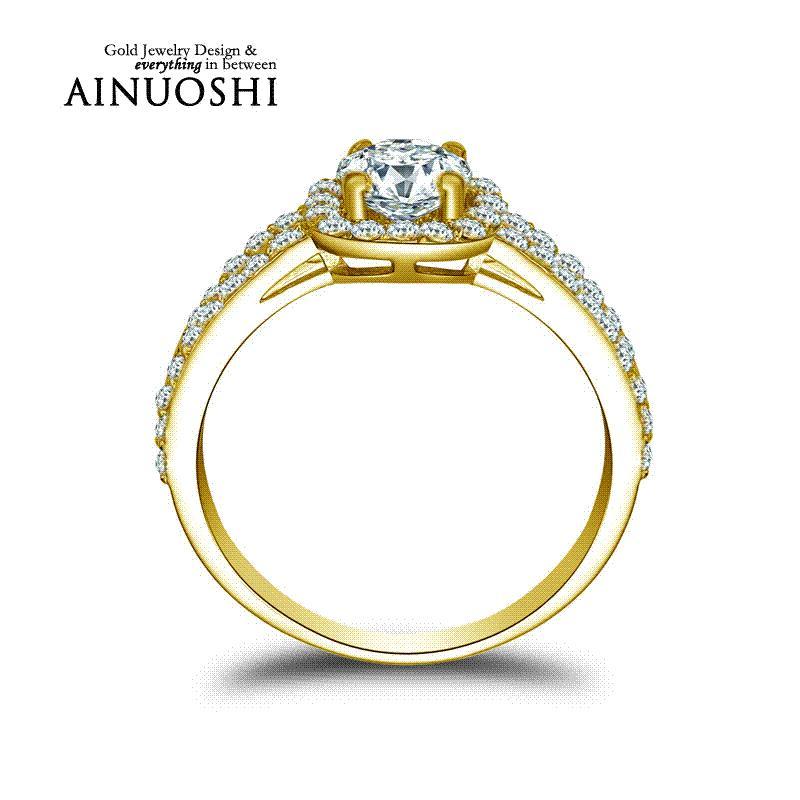 Купить Оптом <b>AINUOSHI 10k Solid Yellow</b> Gold Обручальные ...