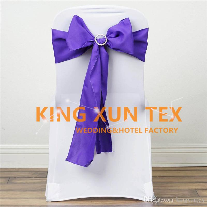 Wholesale Price 100% Polyester Plain Chair Sash With Diamond Buckle Fit For Banquet Chair Cover Decoration