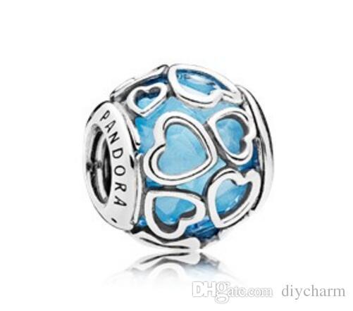 2017 yaz otantik gümüş boncuk pandora bilezikler için uyar Orijinal 100% 925 ayar gümüş boncuk Mavi Aşk Charm 3 renk kaplı Ücretsiz