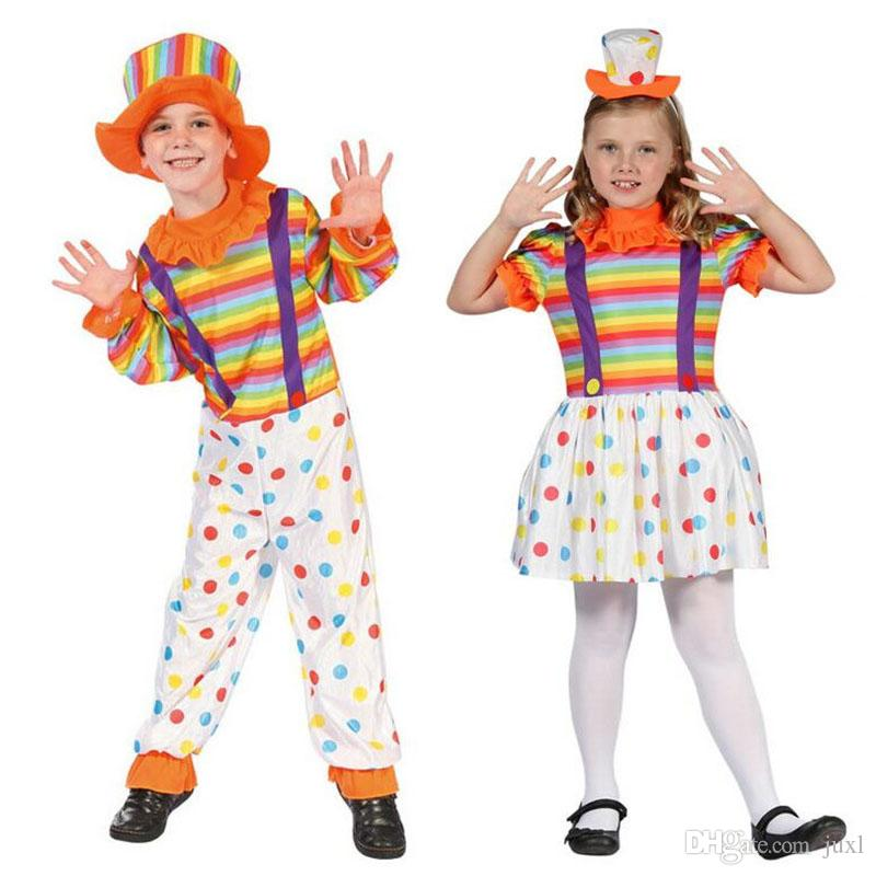 Colorful Kids Boys Girls Dot Clown Costume Children Carnival Cosplay Circus  Costumes Halloween Party Fancy Dress Decor Adult Costume Party Themes