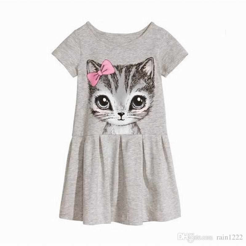 New Summer Girls Dress Cute Cat Printed Short Sleeve Pleated Dresses Children Cotton Leisure Dress Kids Pink Grey Ruffles Dresses For 2-9T