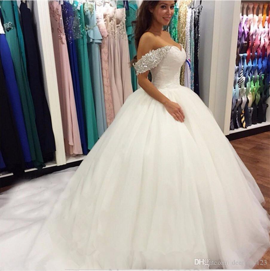 Nova Contas de Cristal Off the Shoulder Querida Lace bola branca Vestidos Vestidos de casamento para noivas Puffy Vestidos de casamento
