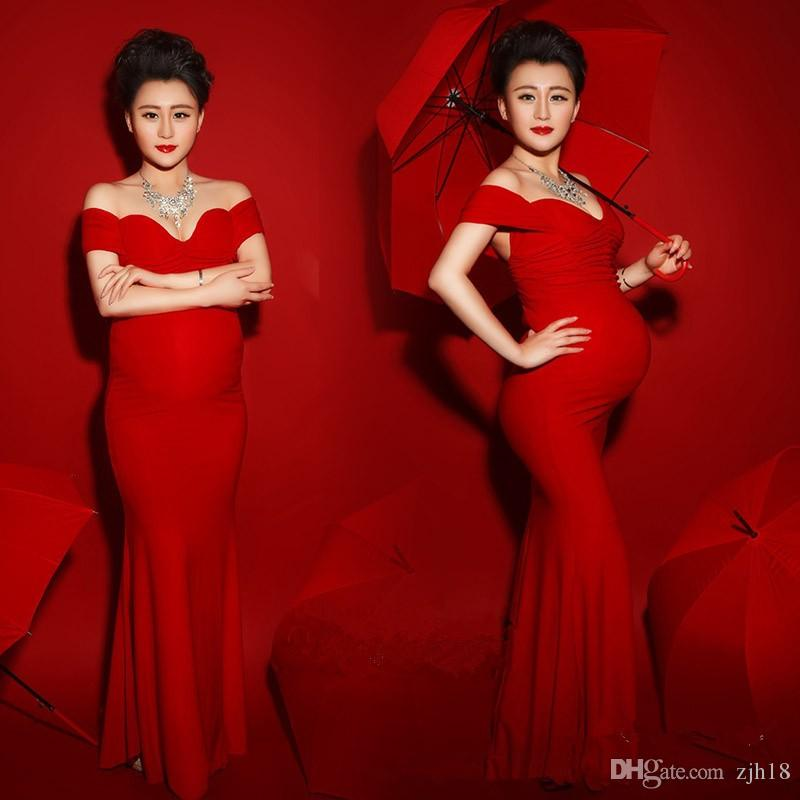 New Maternity Photography Props Pregnancy Clothes for Pregnant Women Long Maternity Dress Red Romantic Photo Shoot Set Princess