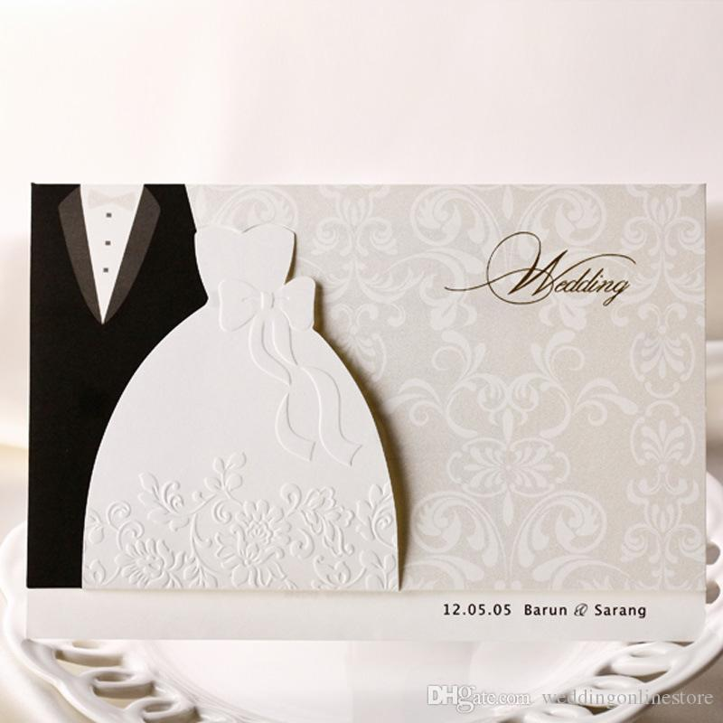 Customized Personality Wedding Invitations White Bridal Dress And Groom Suit Cards With Envelope Seal Photo