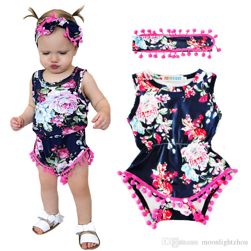 481772f99 Baby Girl Pretty Romper 2017 Summer Flower Tassel Newborn Rompers+Headband  2pcs Floral Girls Jumpsuit Headdress Kids Infant Clothes Outfits