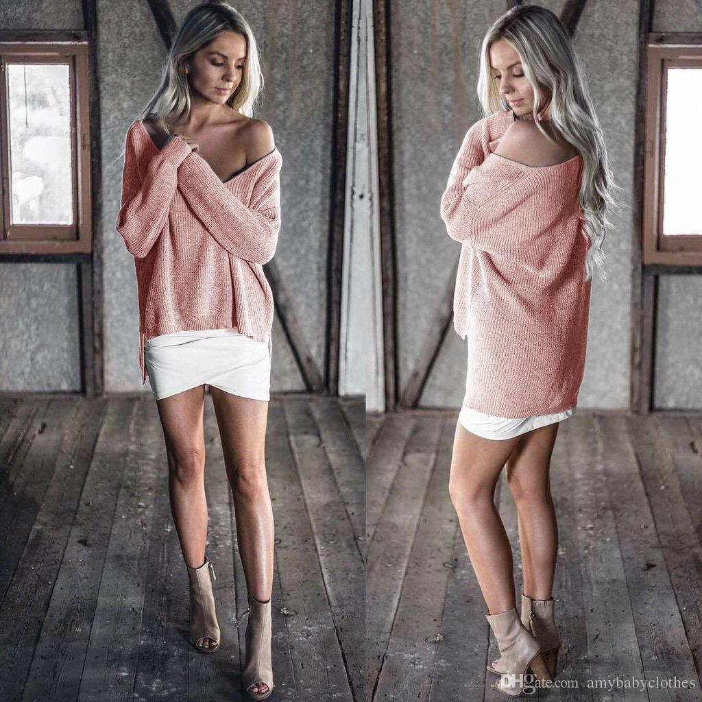 2019 Women Knitting Dress Sexy Off Shoulder Coat Women Tops Blouses