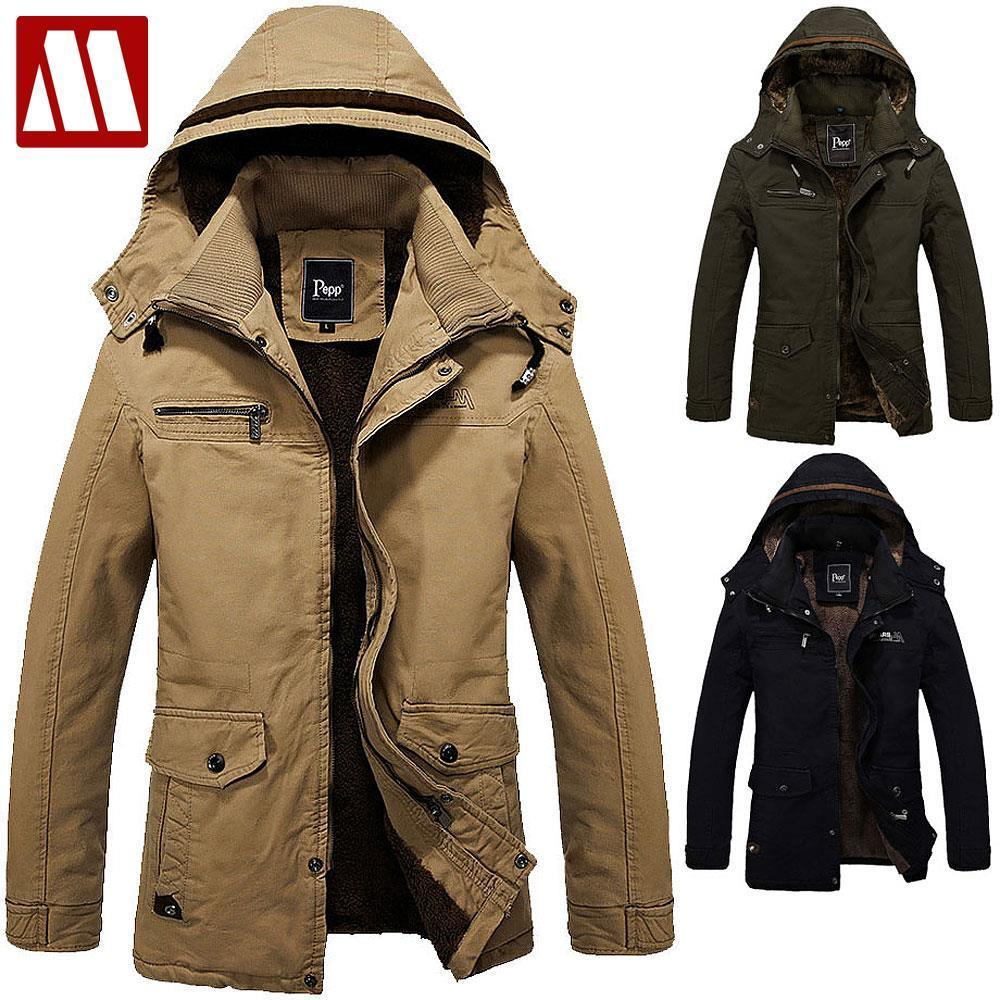 2017 Wintet Casual Mens Fur Winter Coats Army Green Outwear ...