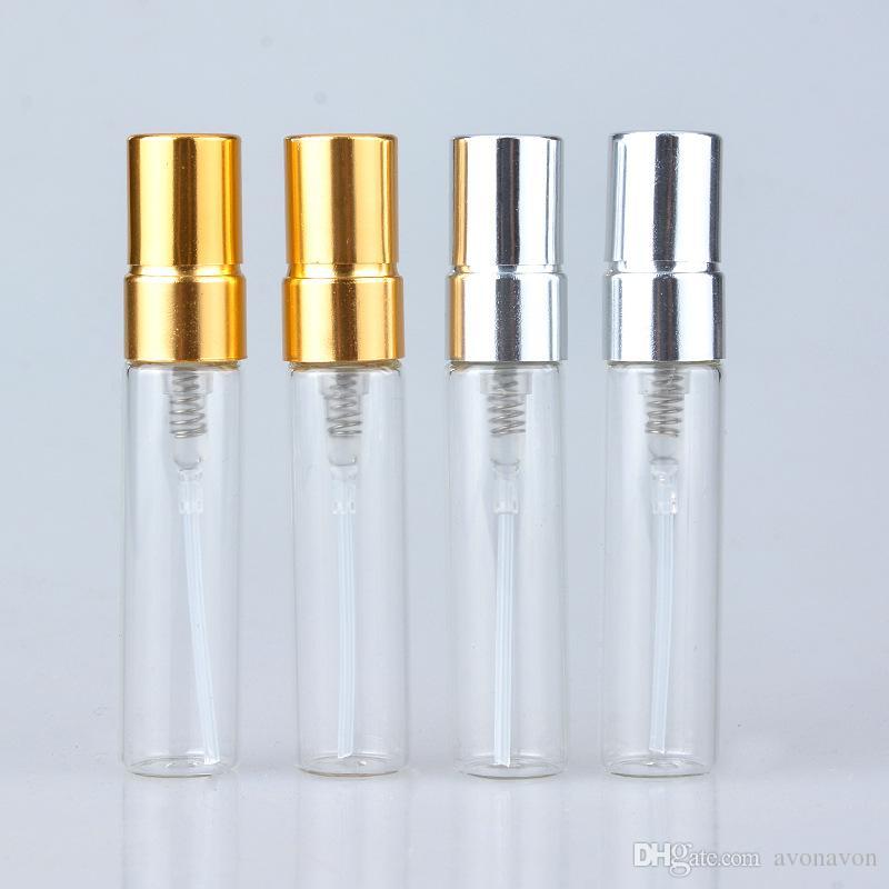 TOP 5 ML 10 ML Frasco De Spray De Vidro Transparente Vazio Recarregáveis Limpar Perfume Atomizador com Tampa De Prata De Ouro Portátil Amostra de Vidro Frascos b706