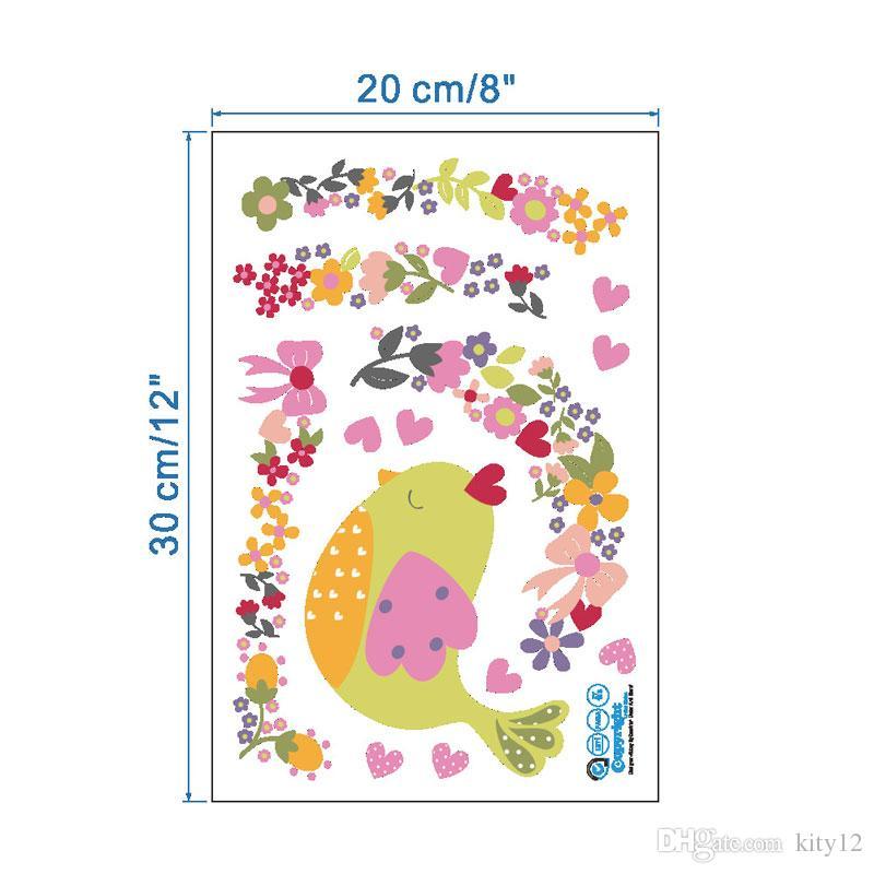 뜨거운 판매 DIY 꽃 만화 새 포도 나무 벽 스티커 화장실 벽지 미술 장식 벽화 아름다운 방 스티커 전사 스티커