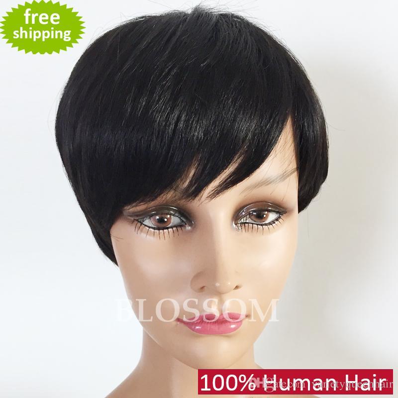 Großhandel Kurze Pony Kurze Menschliche Natürliche Haar Perücken
