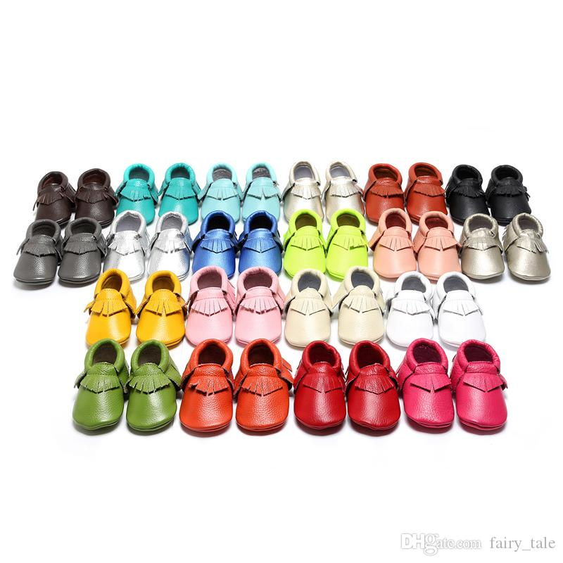 (kids_store) Baby First Walkers Shoes Genuine Leather Tassels Moccasins Soft Leather Baby moccasins soft sole 22 colors