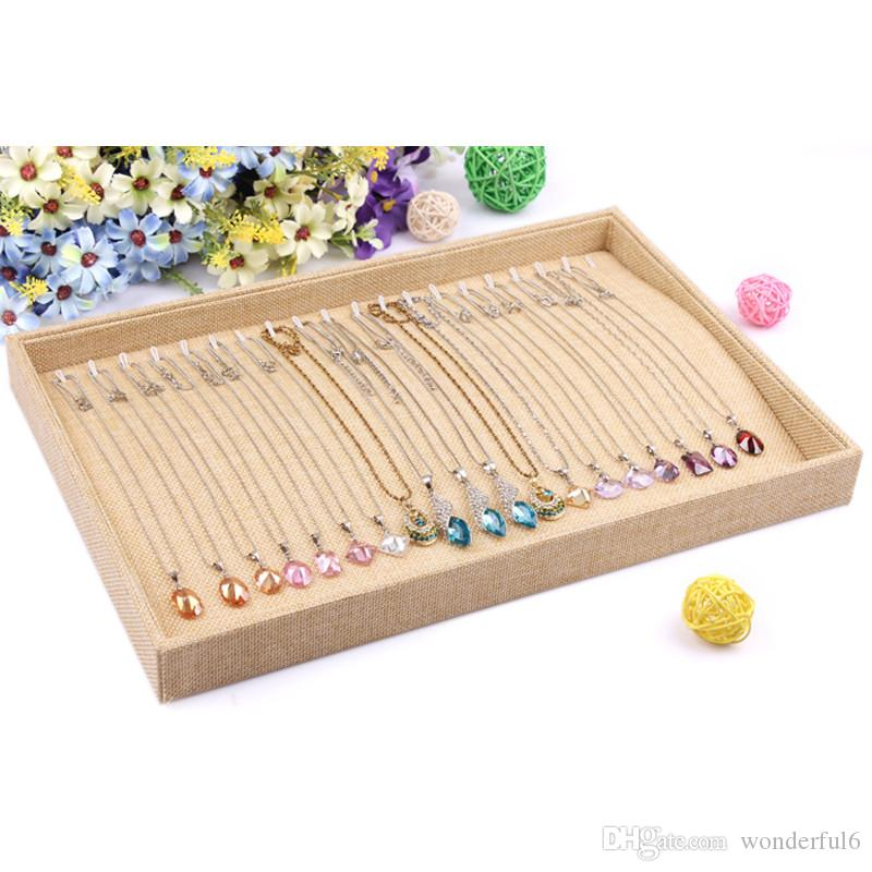 New High Quality Linen Necklace Tray Jewelry Display Necklace Pendants Plate Showcase Jewelry Decoration Necklace Showcase