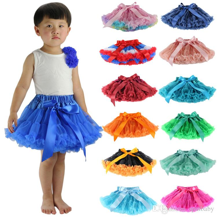 2018 Girls Fluffy 2 12 Years Chiffon Skirt Solid Colors Tutu