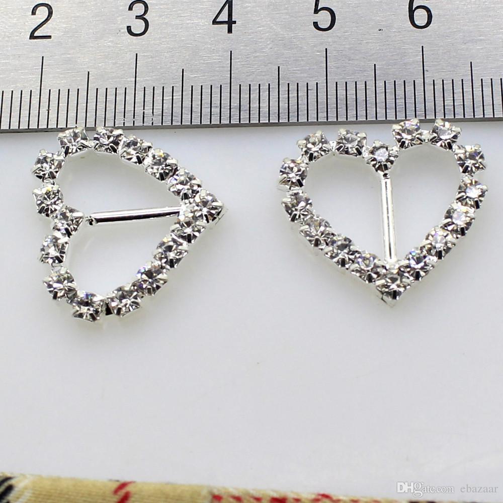 100st / mycket 10mm bar Clear Rhinestone spänne hjärta för bröllopsinbjudan Diamante Ribbon Sliders Bröllopsdekoration