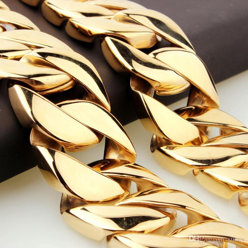 31mm Super Heavy Thick 316L Edelstahl Mens Goldkette Ton flache runde Curb kubanischen Halskette Großhandel Schmuck