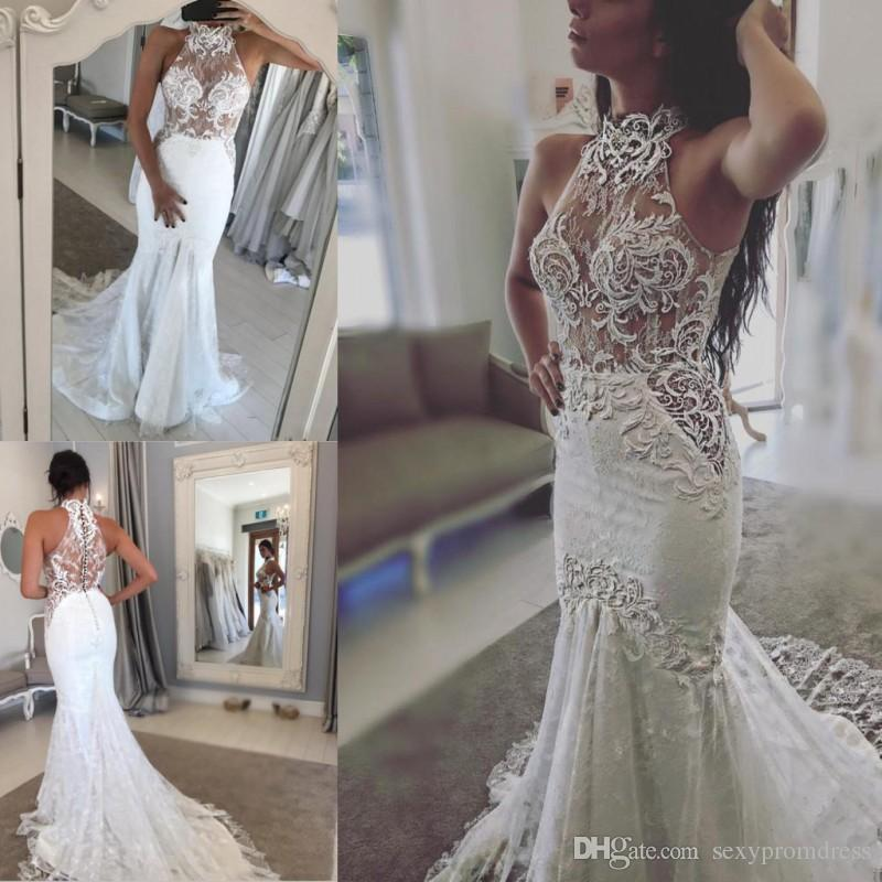 See Through Wedding Dresses.Lace Halter See Through Wedding Dresses Sexy Sleeveless Sheer Back Covered Buttons Mermaid Bridal Gowns Sweep Train Wedding Vestidos