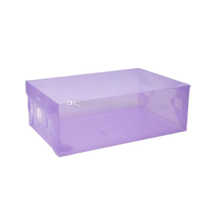 DIY Folding Shoebox Shoes Storage Boxes Transparent Boots Organizer Plastic Transparent Toughness Shoe Box Container