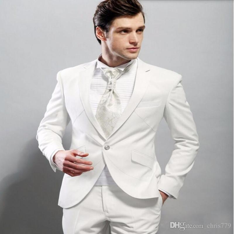 Handsome men suits new Style White Groom suits Tuxedos Best Man Suit Slim Fit groomsman Prom tuxedosjacket+pants