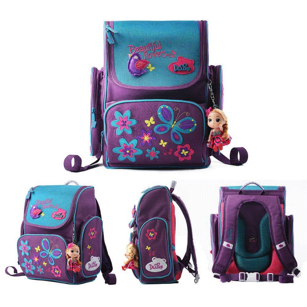 Delune Brand Kids Cartoon School Bags Children Orthopedic School ...