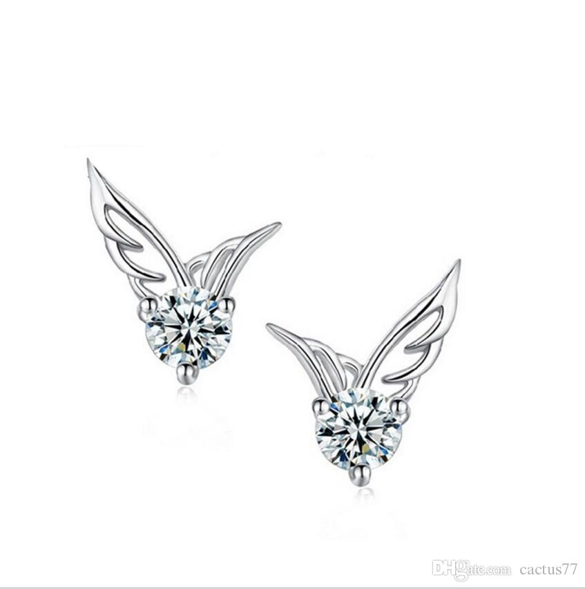 S 925 Stamped silver plated stud earrings Crystal Angel Wings Stud pierce earrings for women girl lowest factory price ED037