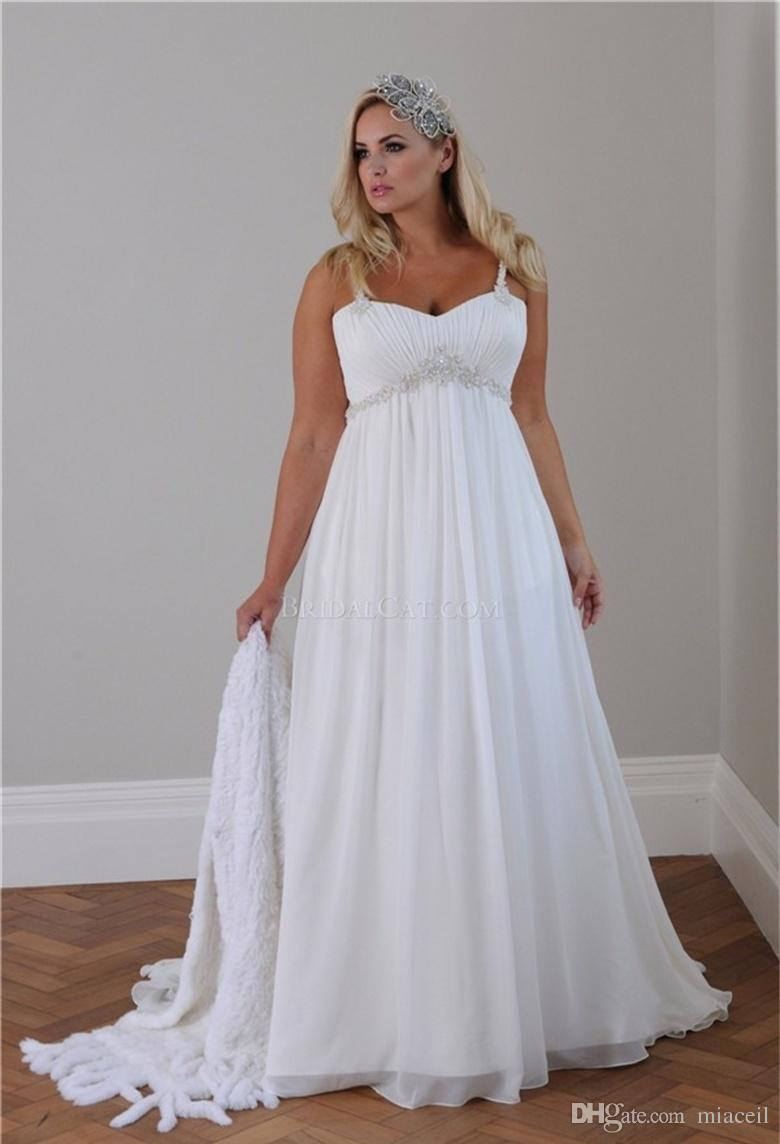 Superbe 2018 Plus Size Casual Beach Wedding Dresses Spaghetti Straps Beaded Chiffon  Floor Length Empire Waist Elegant Bridal Gowns Custom Plus Size Wedding  Dresses ...