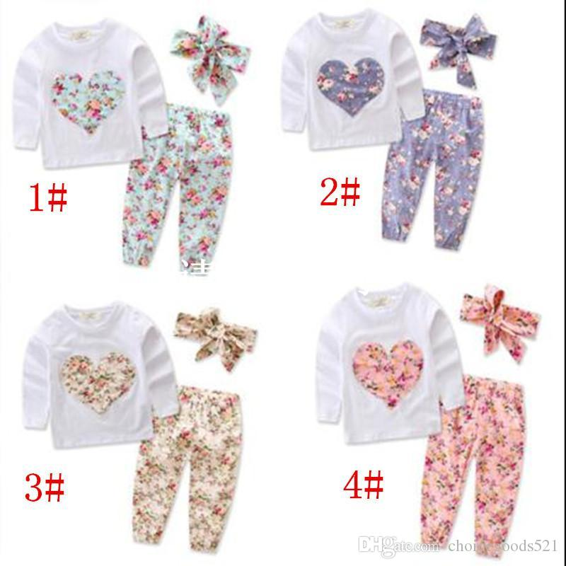 4aea42f7b Baby Clothes Girls Ins Floral Outfits Toddler Long Sleeve T Shirt ...