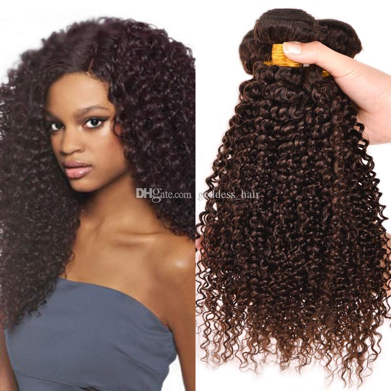 Chocolate Kinky Curly Hair Weaves Mongolian Human Hair Bundles Kinky