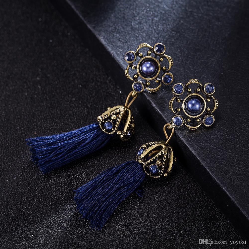 Exaggerate Ethnic Vintage Earrings Long Fringe Blue Handmade Chinese Jewelry Bohemian Tassel Style Earrings For Women
