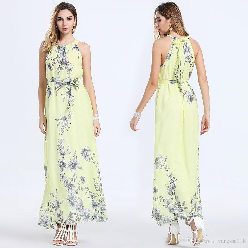 Vintage Bohemian Chiffon Long Dresses for Women Sleeveless Flower Printed Turquoise Summer Dresses Oversized M~6XL SQ-016