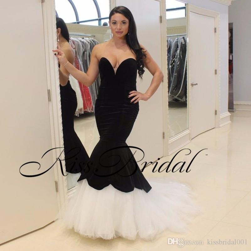 Velvet Black White Prom Dresses Mermaid Puffy Tulle Formal Evening Gowns Sweetheart Neckline Girls Pageant Dresses
